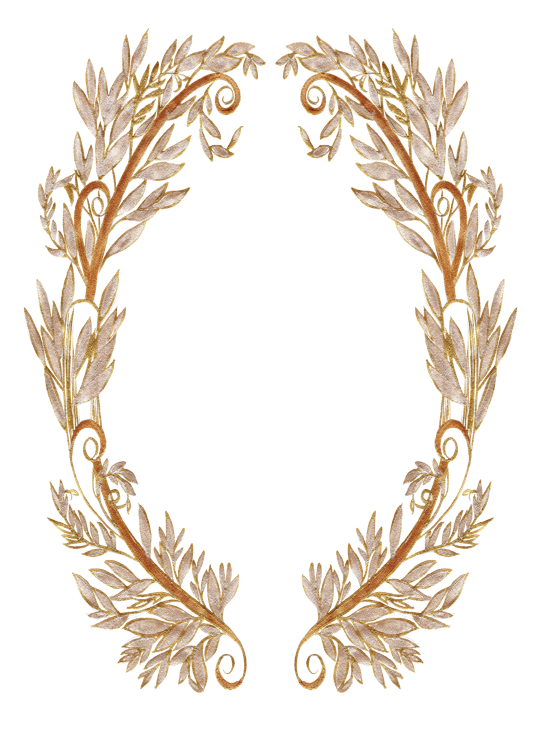 Gold crest design with lots of small gold leaves