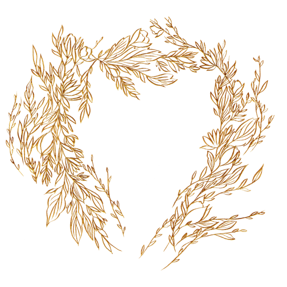 Gold crest designs with a floral wreath