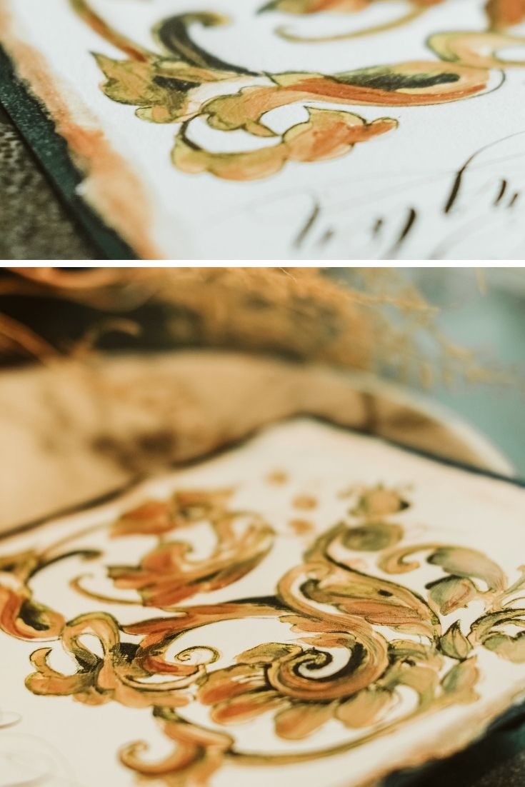 Gold edged wedding invitations made with watercolour paint and acrylic paint
