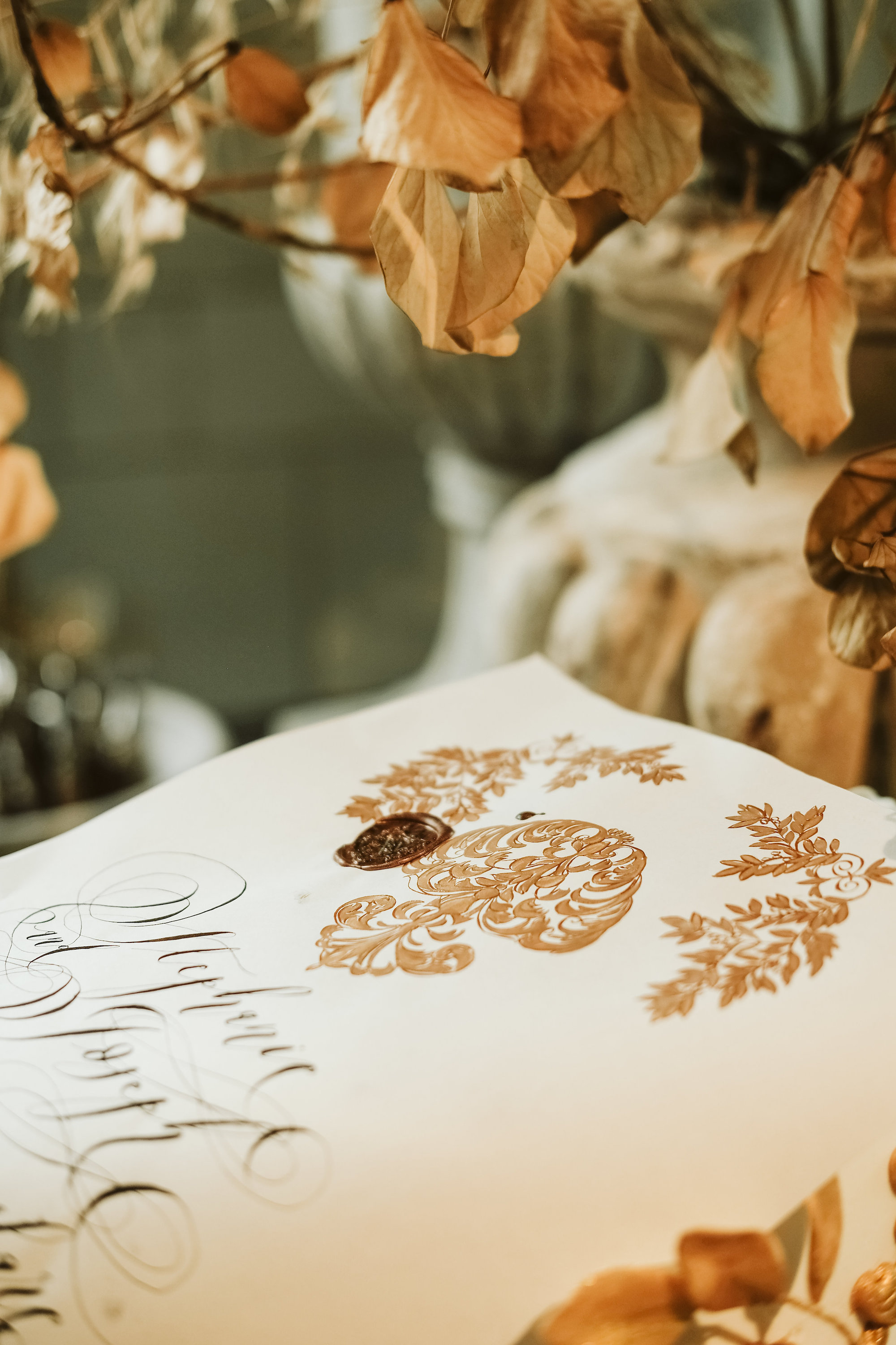 Gold wedding invitations for a London wedding