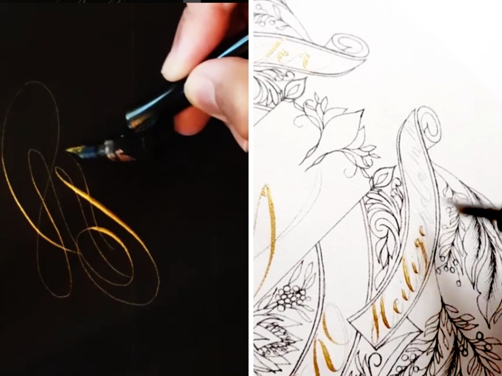 Calligraphy in progress with gold calligraphy on black