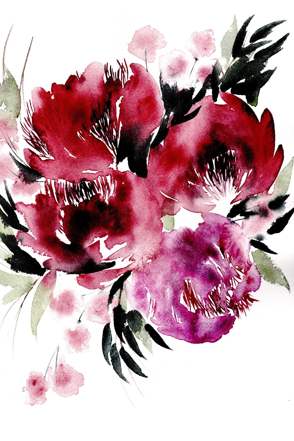 Large loose watercolour flower illustrations with magenta and red