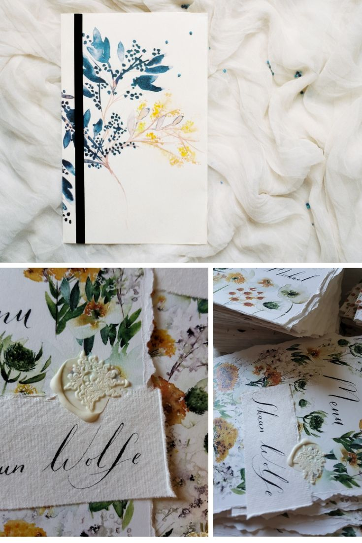 This blogpost covers all the benefits of custom watercolour wedding invitations with yellow floral designs