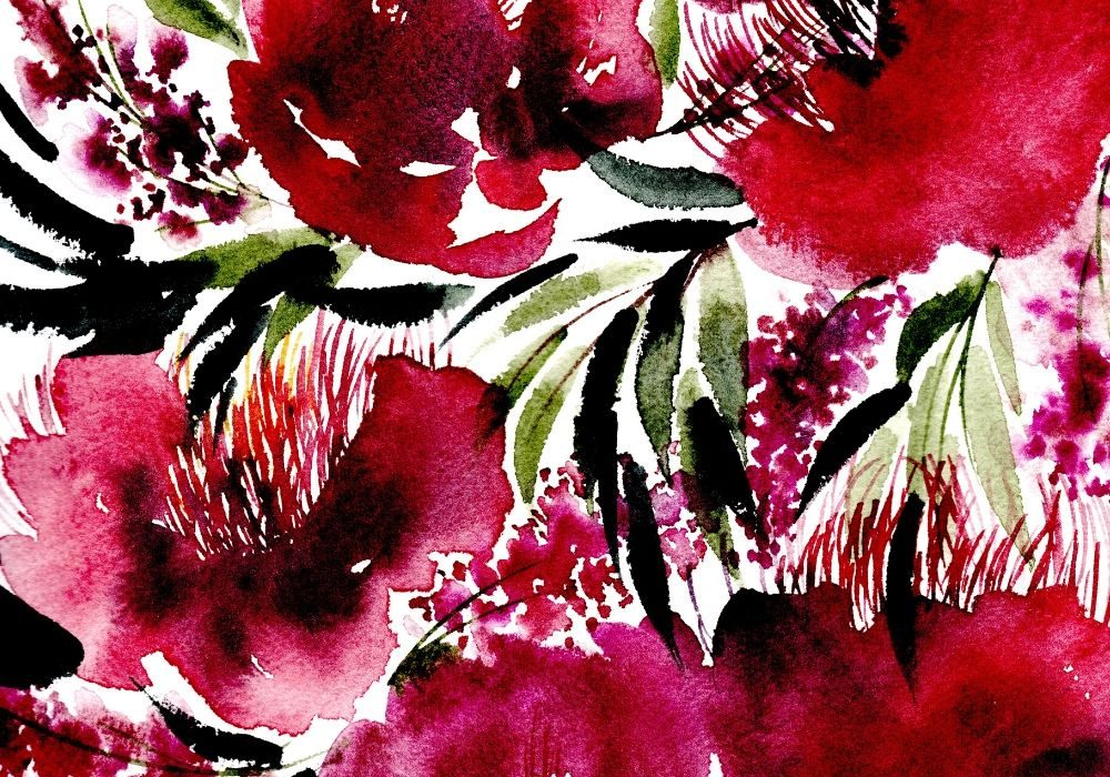 Watercolour painting of loose red and deep burgundy flowers