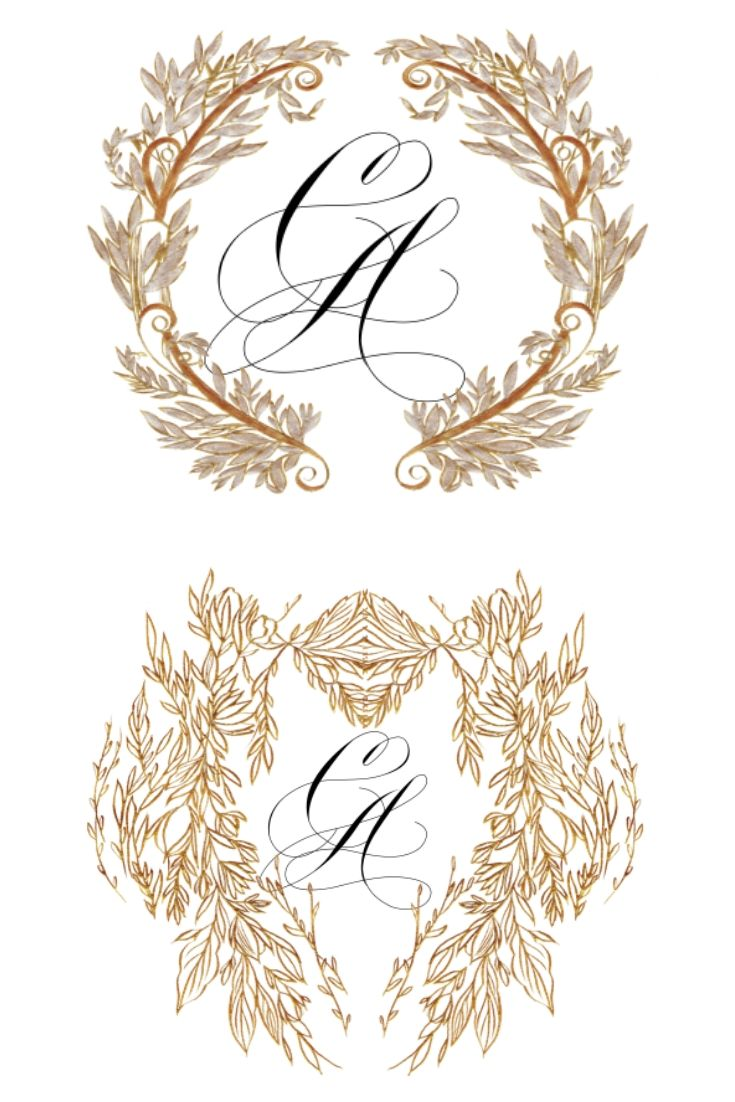 Wax Seal designs options 1 and 2 with gold leaf work
