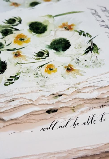 Floral wedding invitation and wedding stationery inspired by white and yellow flowers