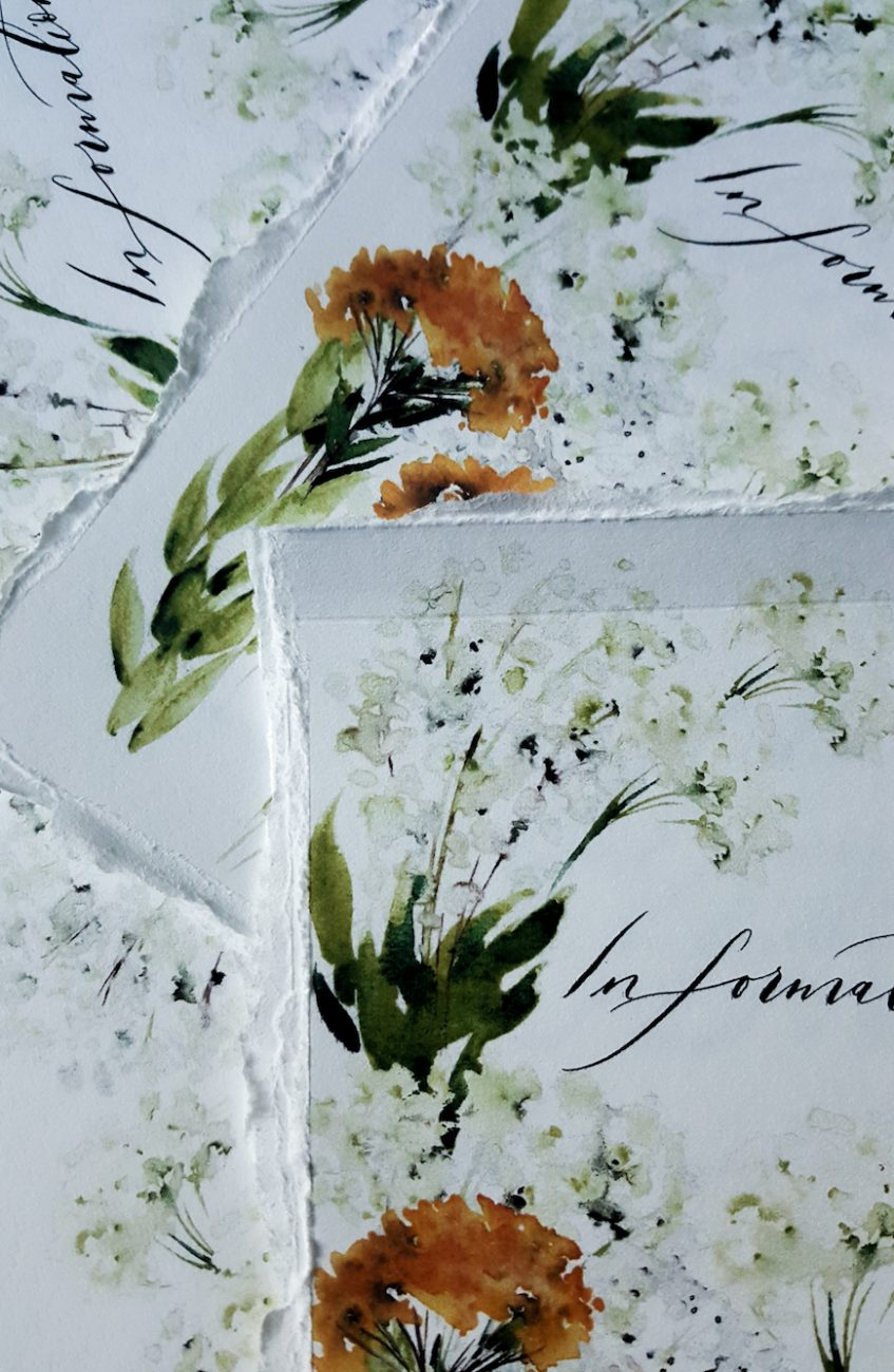 Floral wedding invitations with watercolour details for an information booklet with torn edges