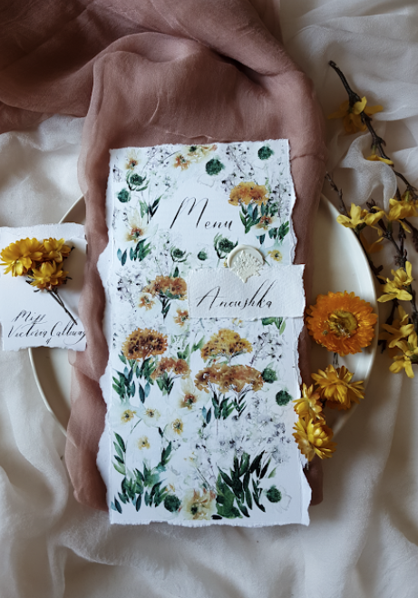 Hand painted watercolour menus with floral designs