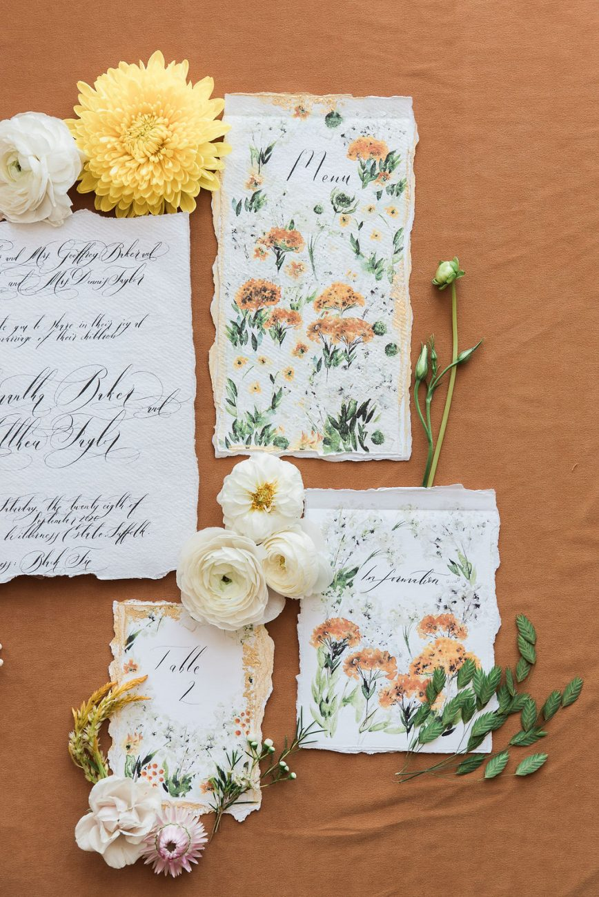 Wildflower inspired watercolour invitation suite