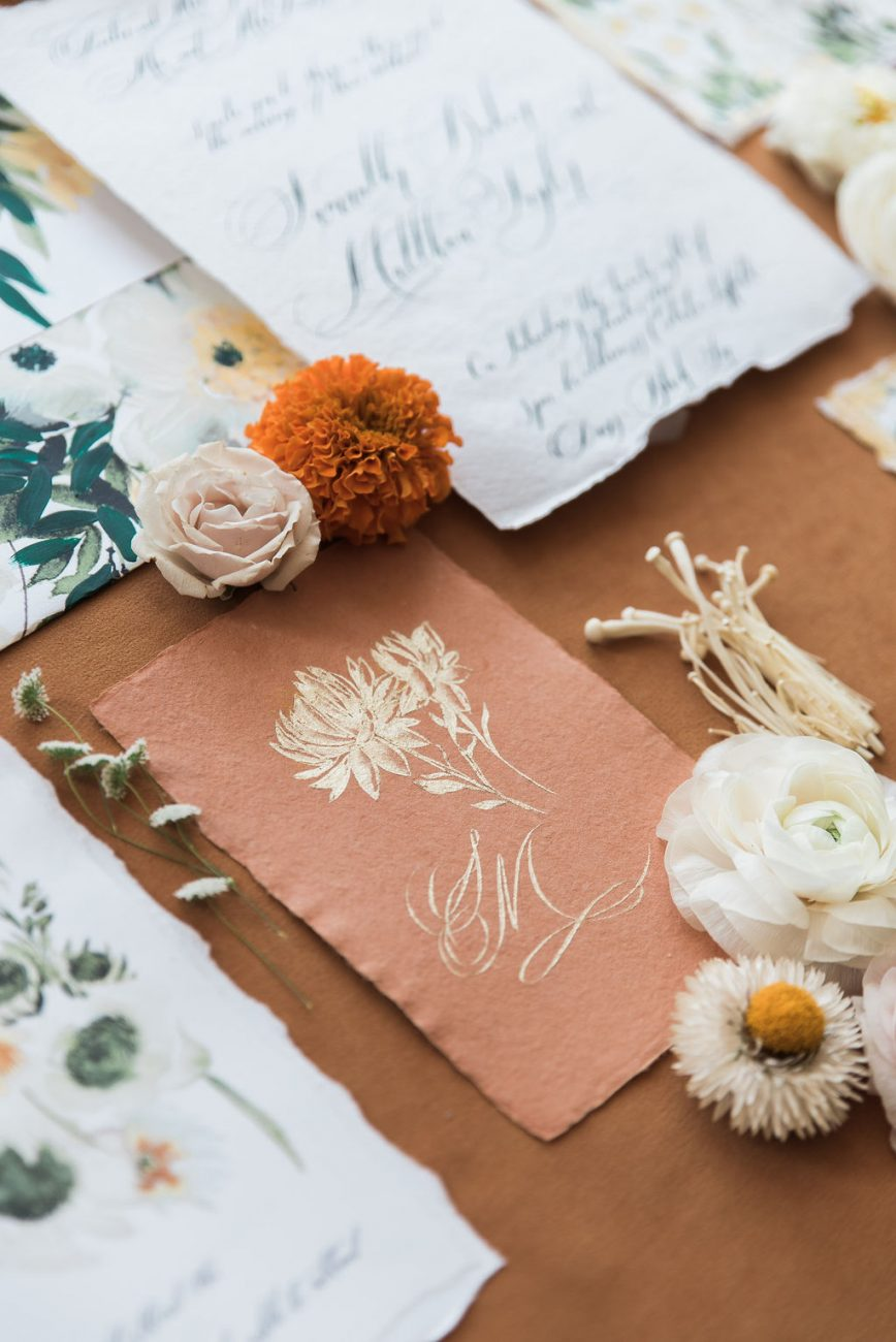 Wildflowers in gold for a statement floral card