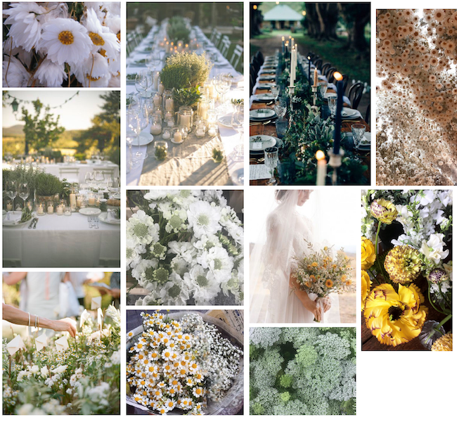 Client mood board for wildflower wedding invitations inspiration