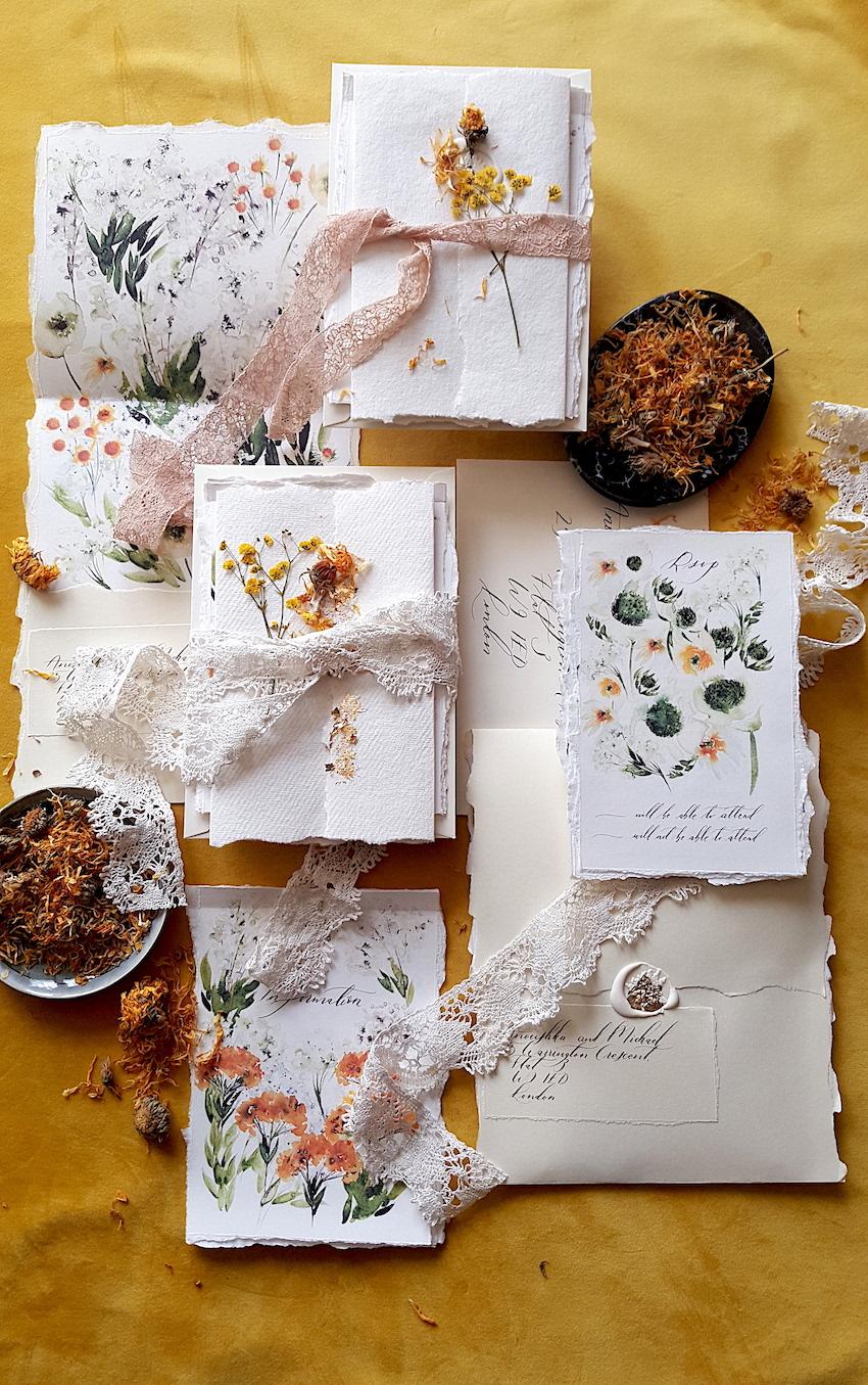 Cream and white flowers invitations