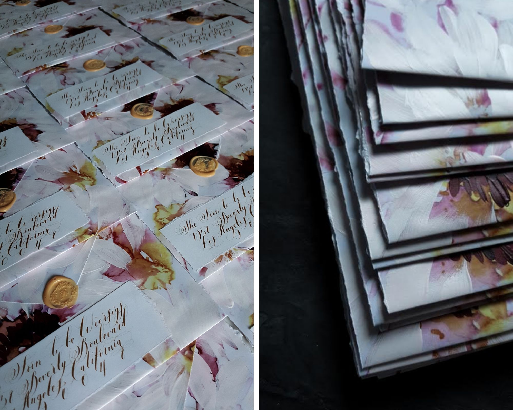 Hand painted and hand made luxury envelopes for a floral wedding