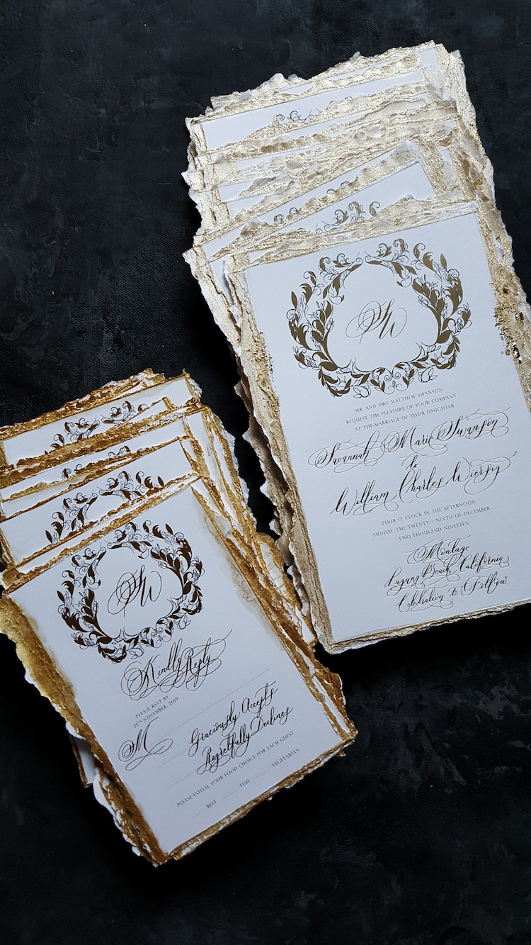 Fine art elegant white and gold wedding invitations with torn edges