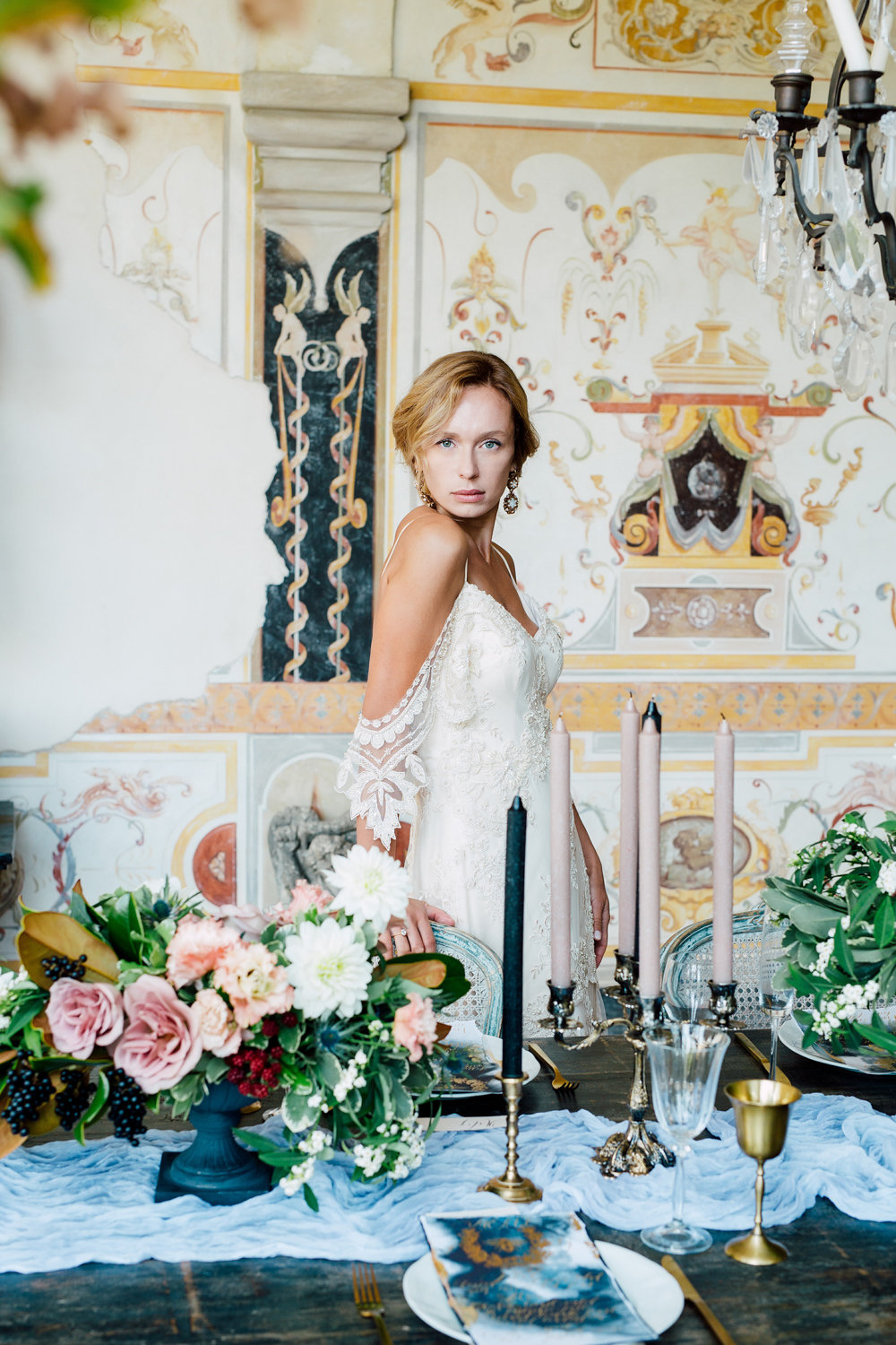 French Destination Wedding Venue with Interior Painted Walls