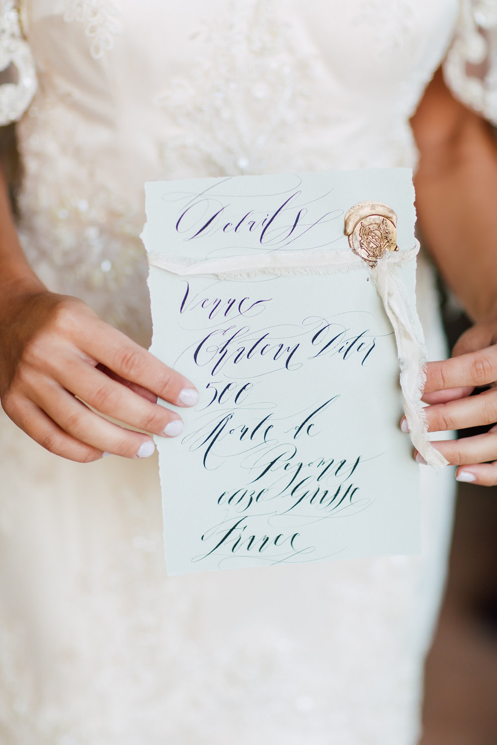 Fine art wedding calligraphy for an information card