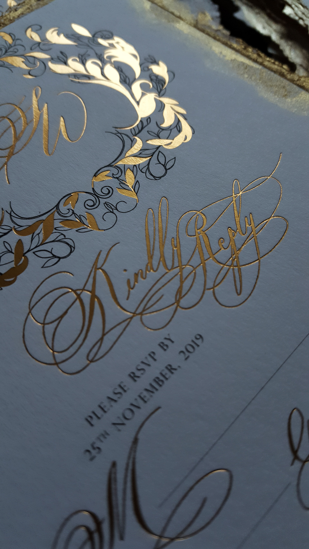 Review of 2019 as a Stationery Designer with gold calligraphy