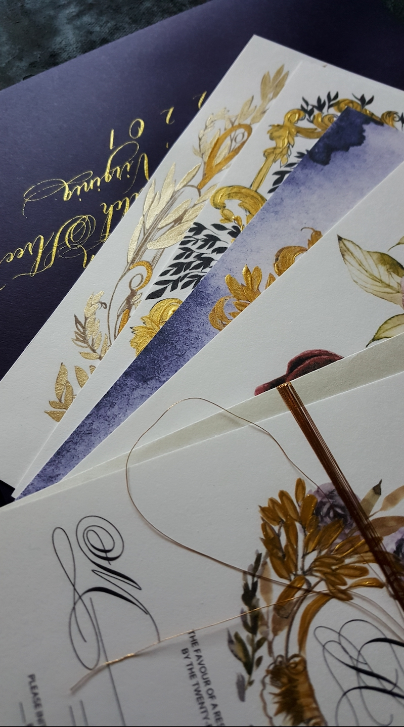 Review of 2019 as a stationery designer with bespoke hand made fine art wedding stationery with purple and gold custom stationery
