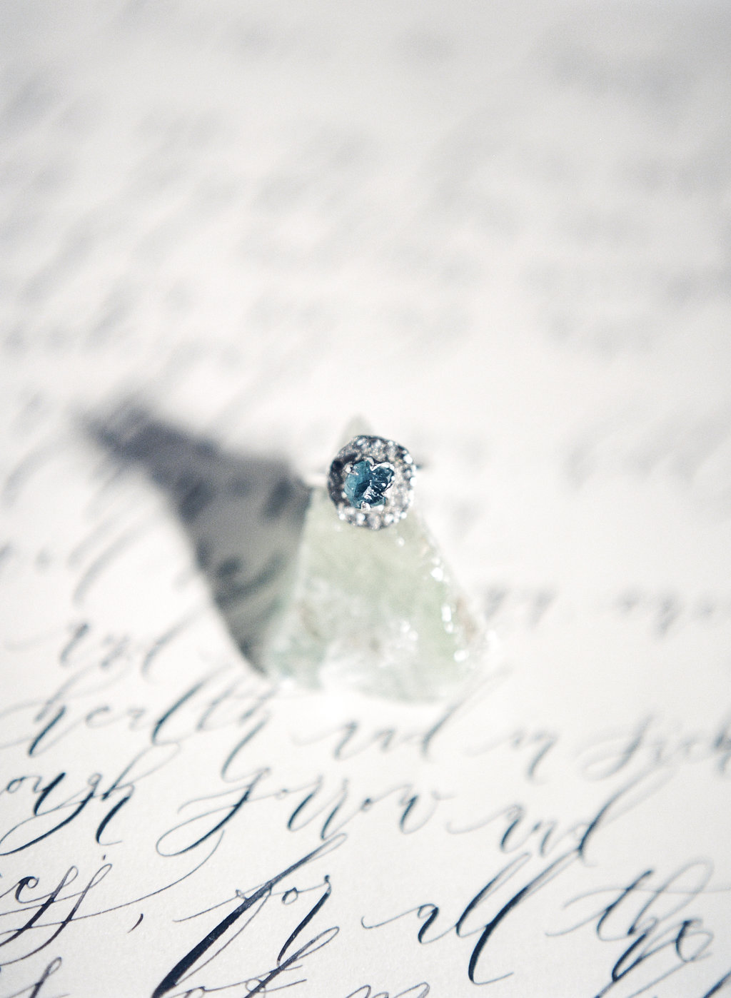 Silver and blue ring with black calligraphy vows
