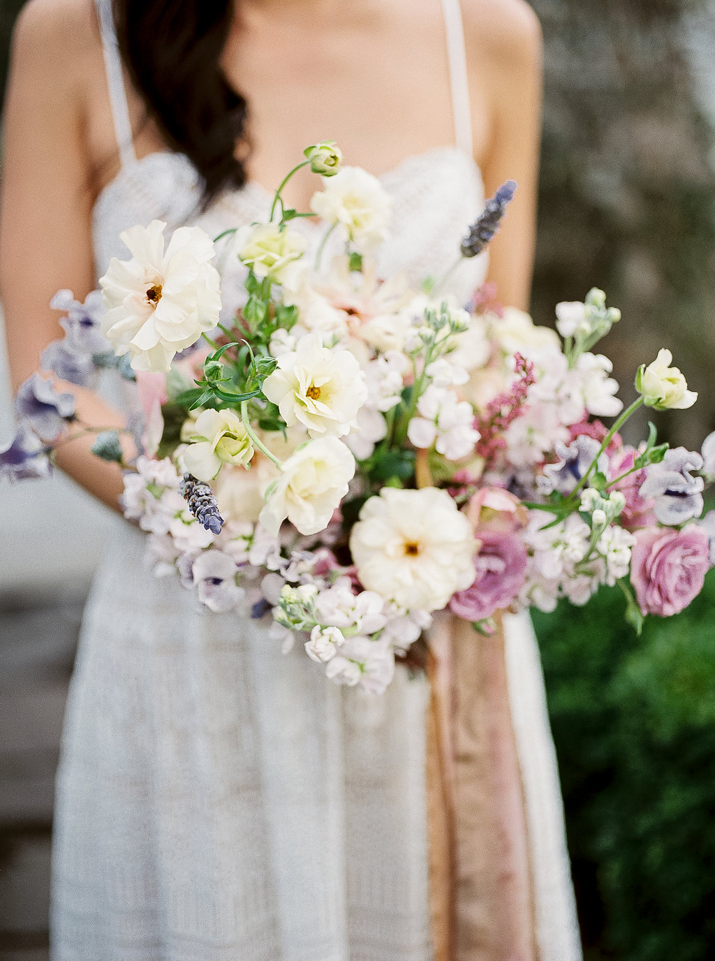Soft yellow and neutral wedding bouquet