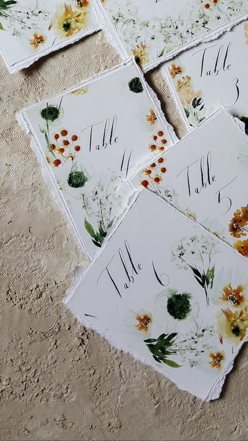 Table numbers with floral watercolour designs