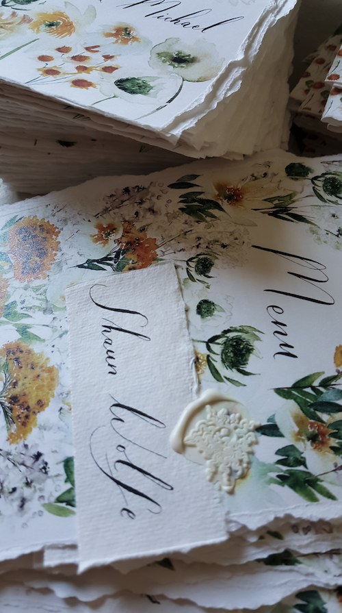 Watercolour wedding stationery featuring floral menu design as part of my review of 2019 as a stationery designer