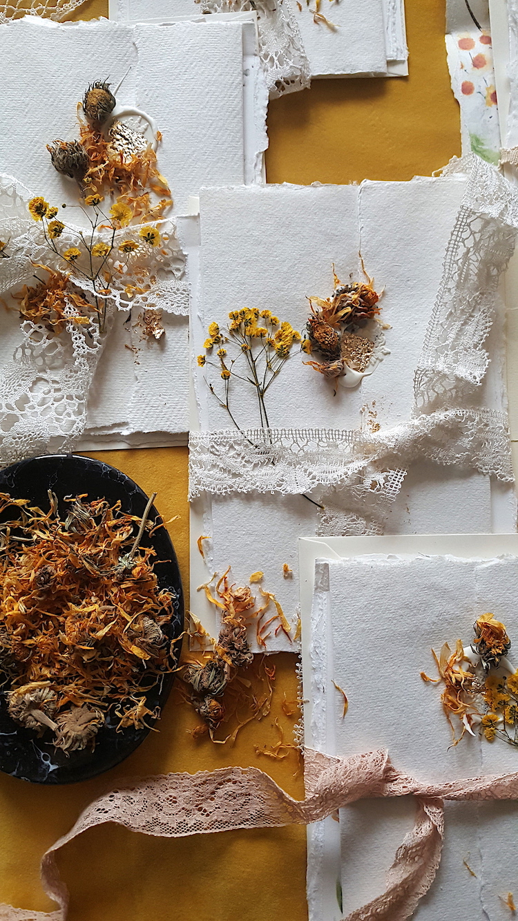 Review of 2019 as a stationery Designer with Wedding Invitations hand made invitations closed with a cream and gold foil wax seal and dried flowers