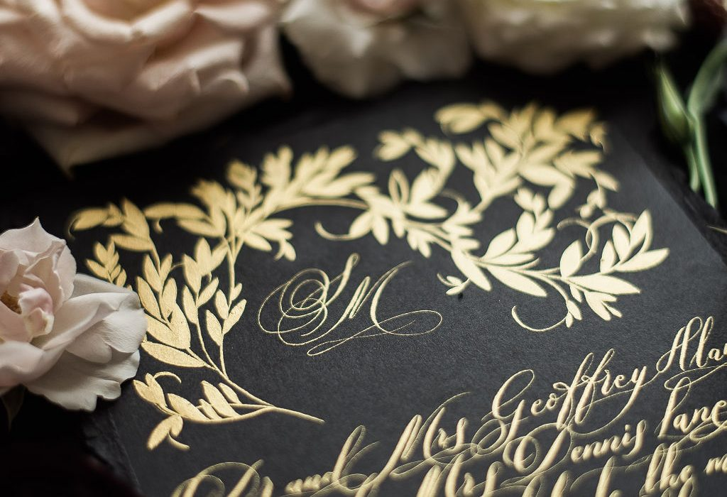Baroque style moody wedding invitations