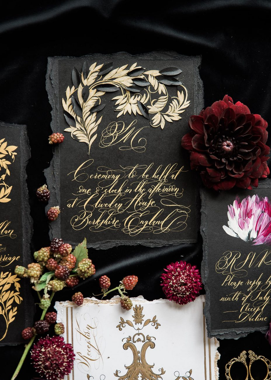 Black and gold black tie wedding stationery for a luxury wedding in the Shangri La Paris, France