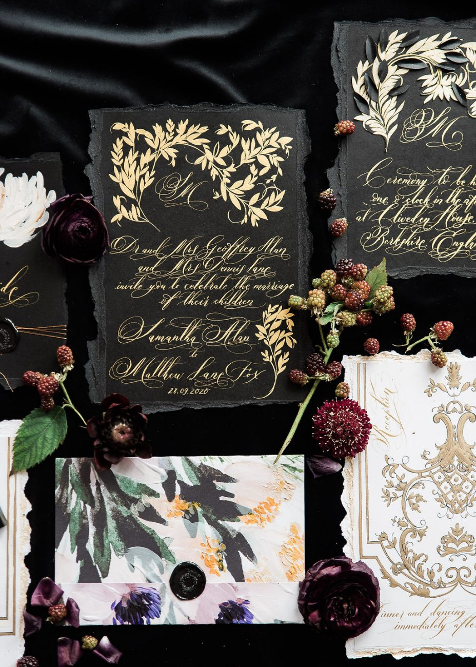 Bold and dramatic black wedding stationery with beautiful, ornate yet elegant designs, perfect for a luxury wedding in Paris, France