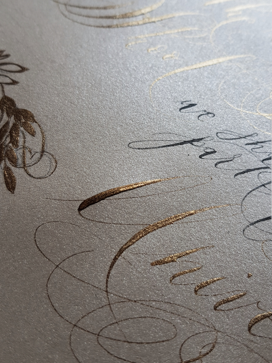 Black and gold calligraphy on a cream paper