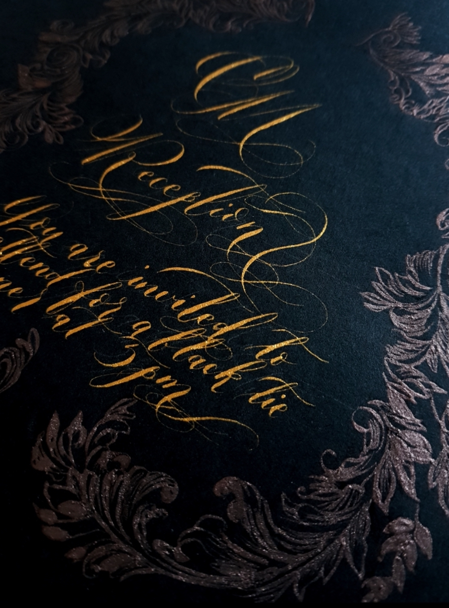 Gold with deep brown calligraphy for luxury Italian wedding invitations