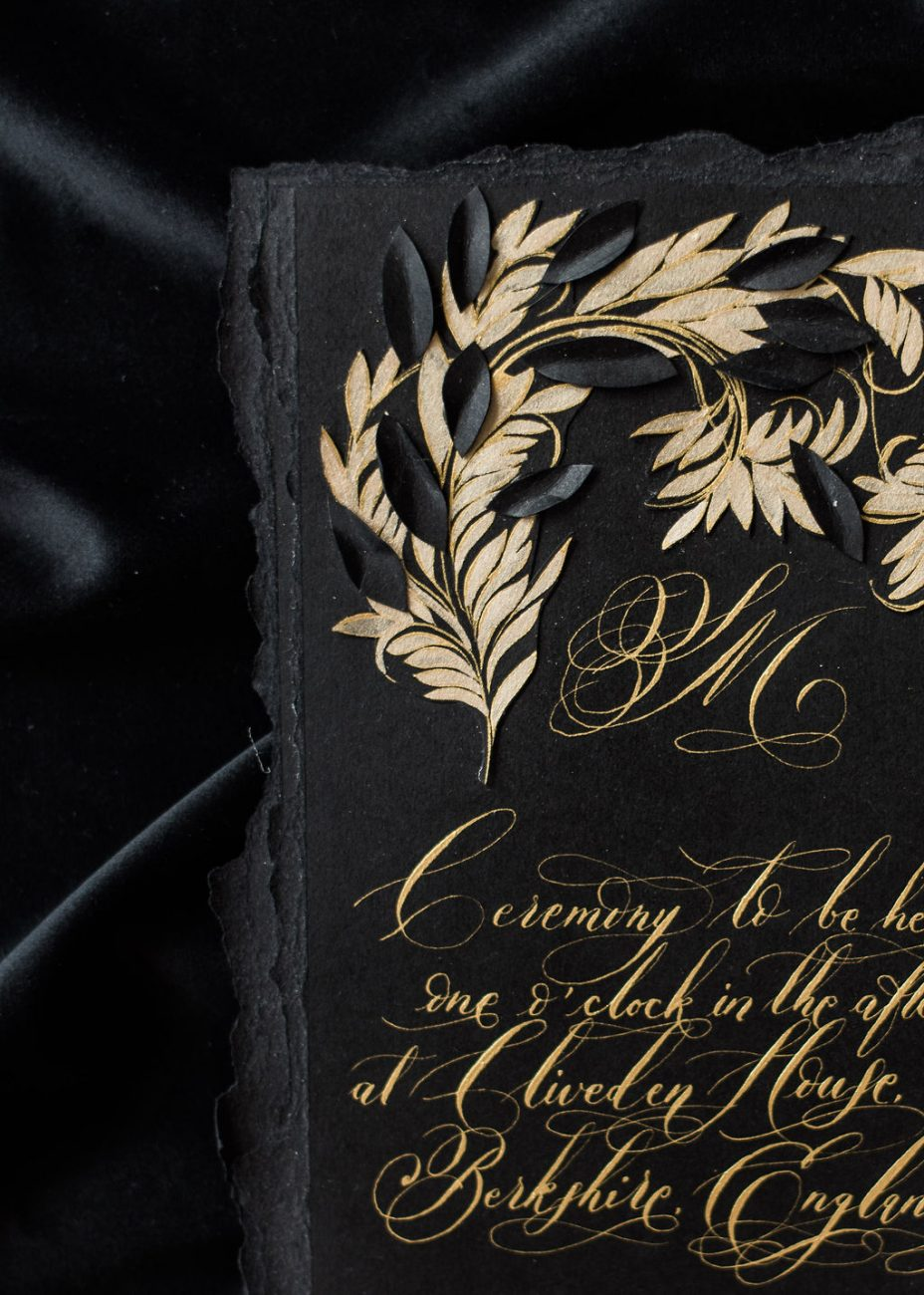 Hand painted gold leaves design on a luxury wedding invitation suite designed for the Crillon in Paris, France