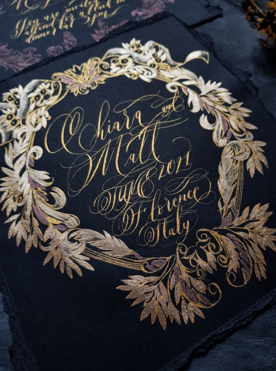 Luxury Black and gold calligraphy art wedding invitation