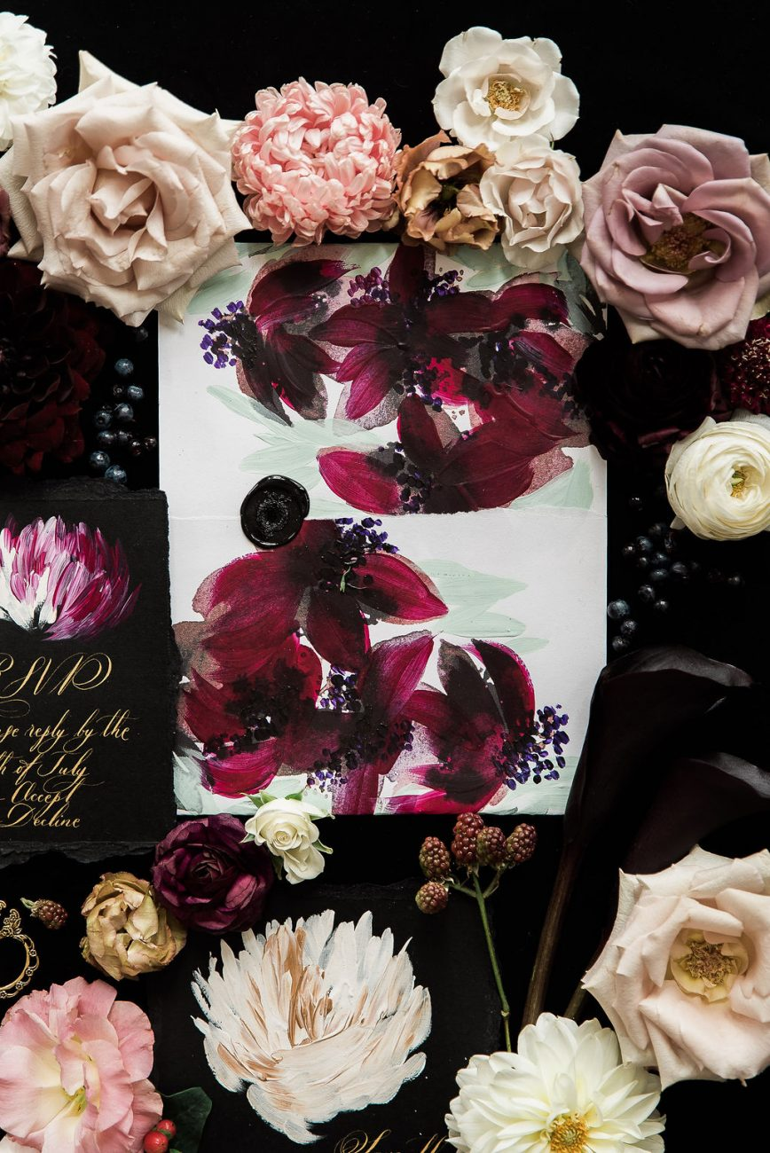 Luxury floral wedding stationery suite with deep wine florals
