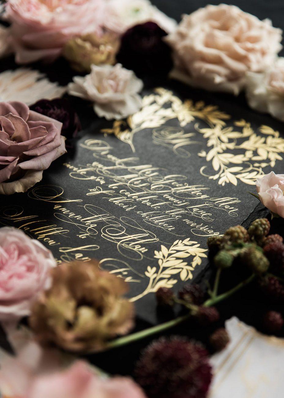 Luxury wedding invites with fine art wedding calligraphy, perfect for an Italian wedding on the Amalfi Coast