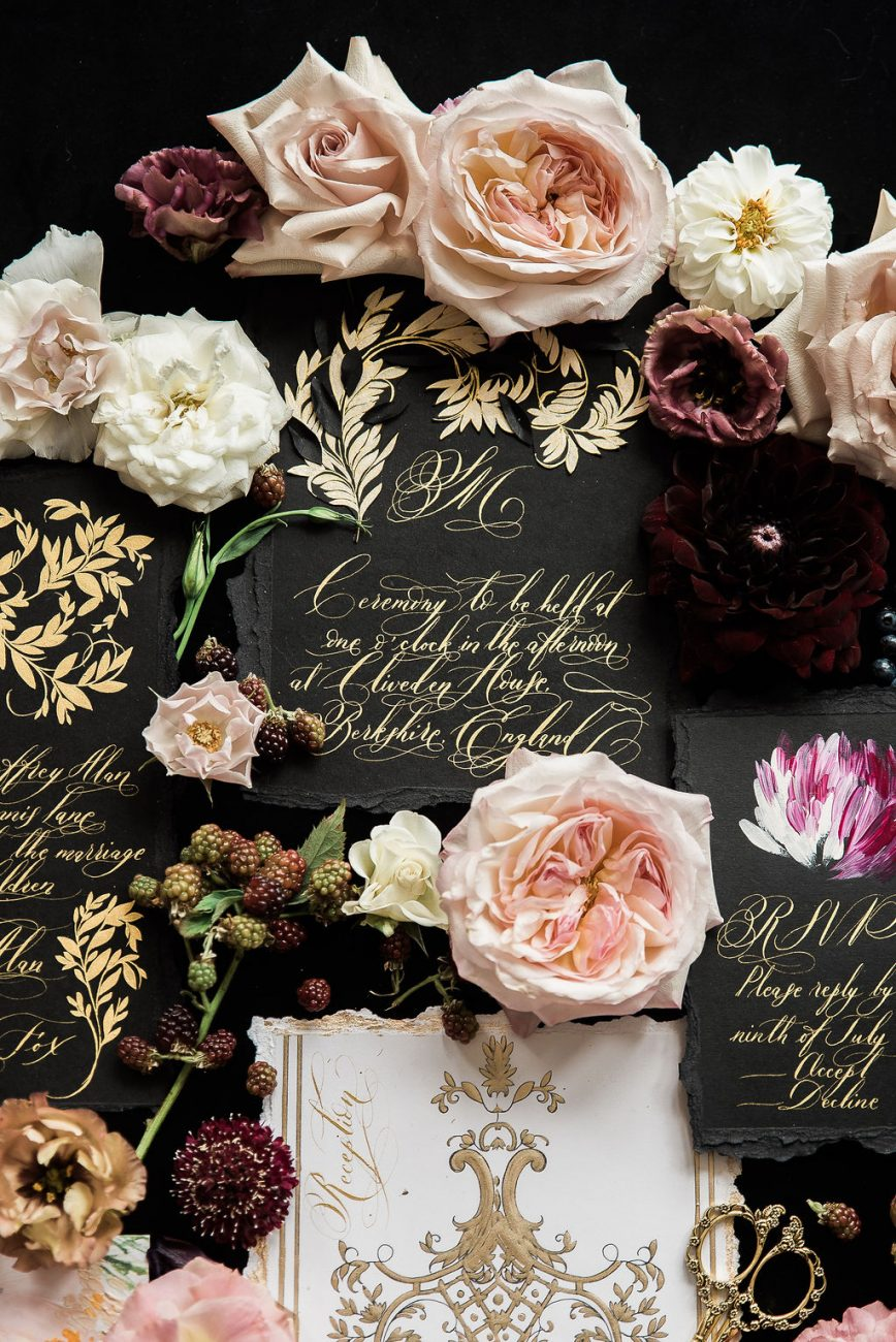 Luxury wedding invites with bold beautiful black and gold designs
