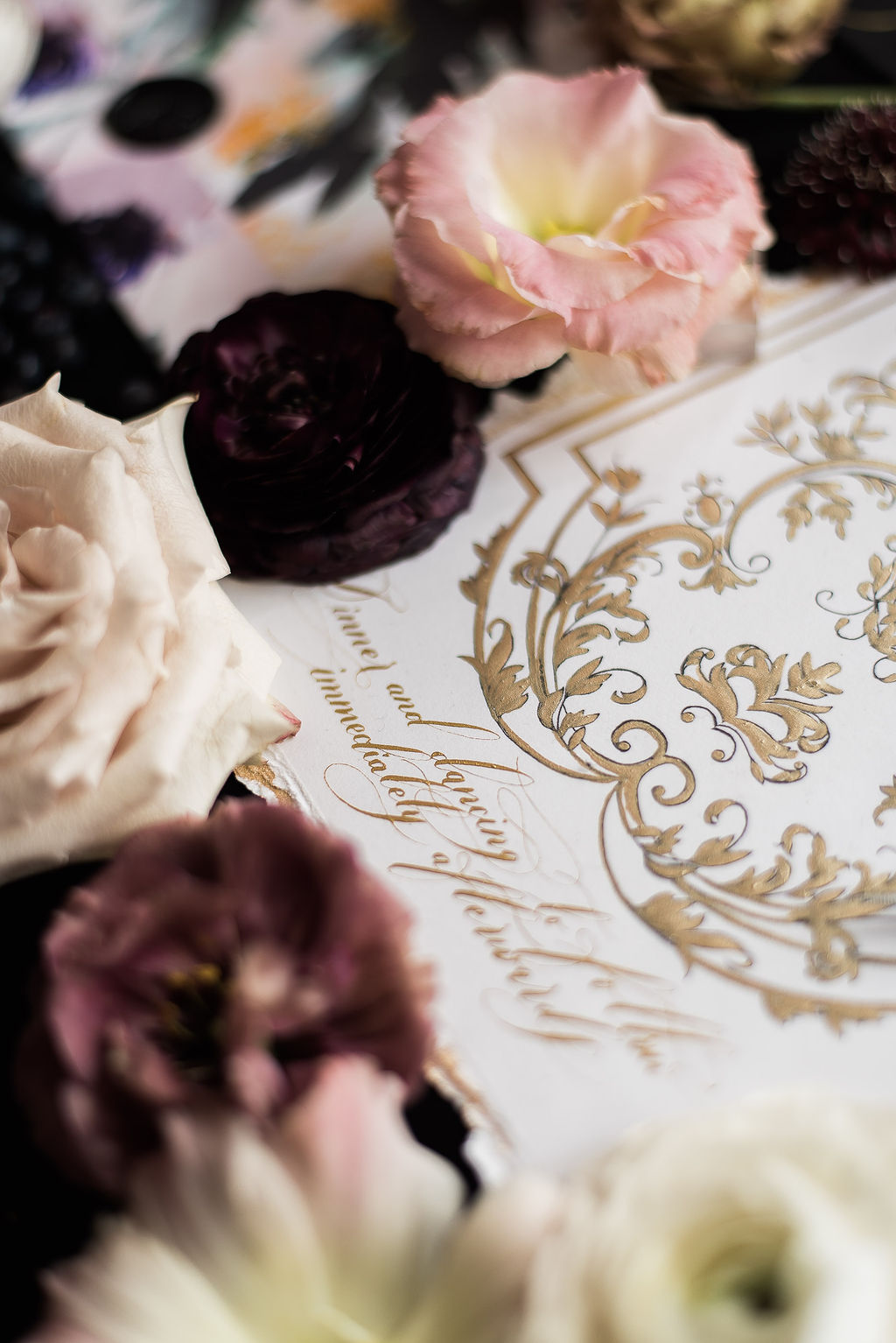 Moody Black tie wedding invitation with baroque French Style inspiration