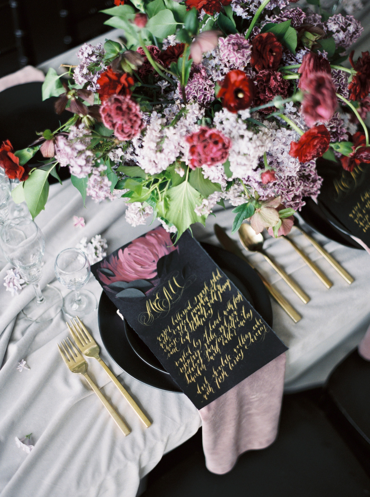 Moody wedding ideas for a table setting, with luxury fine art flowers and hand painted wedding stationery