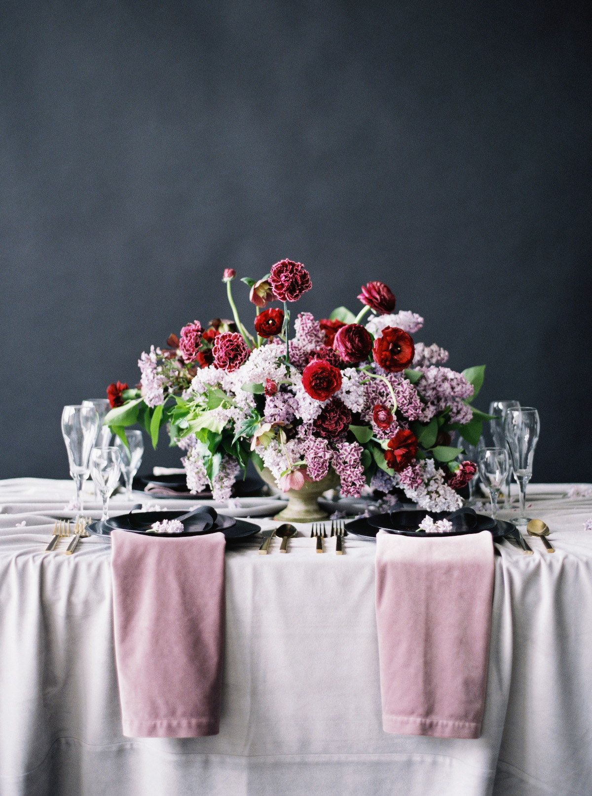 Moody wedding tablescape design