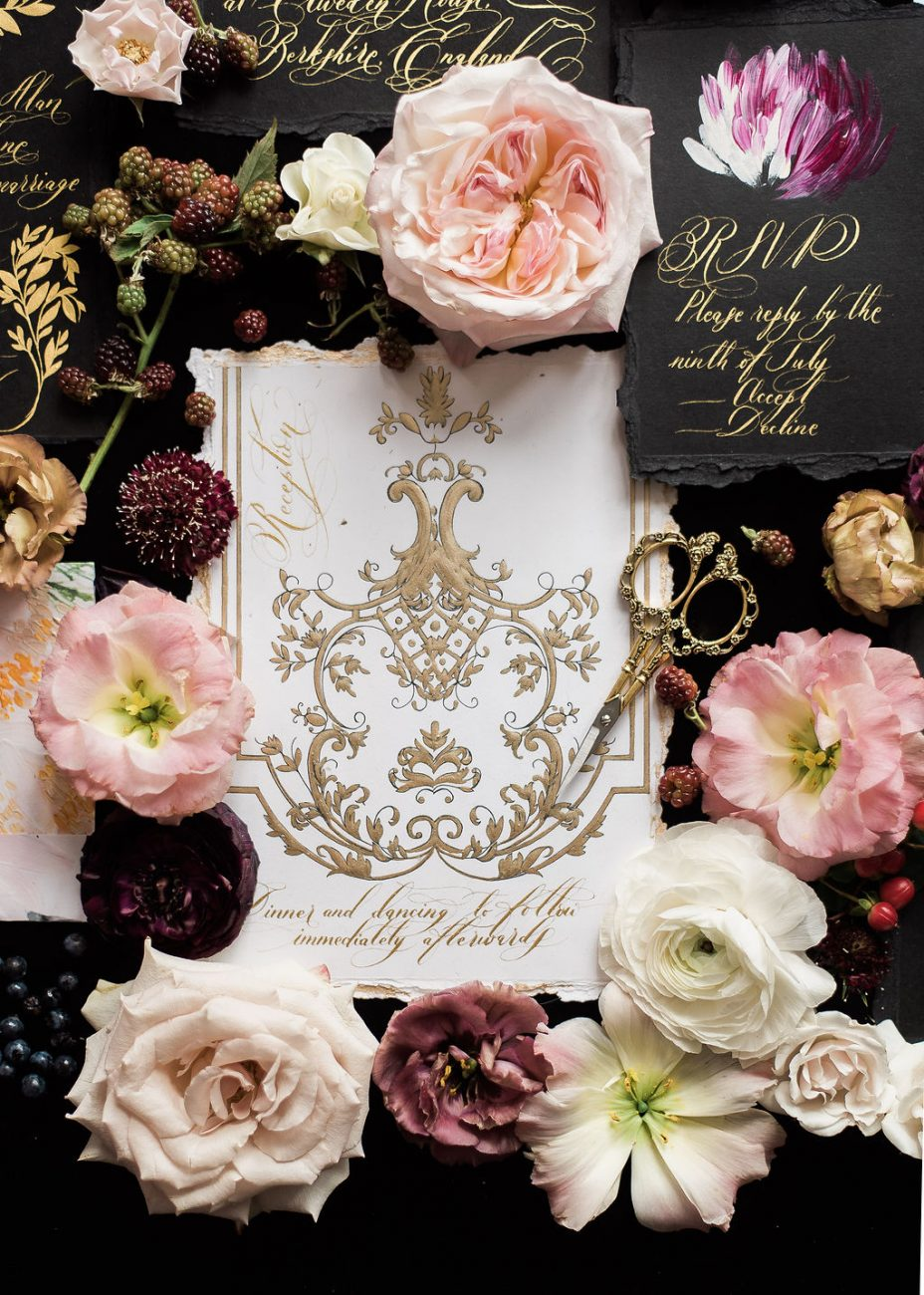 Reception card for a wedding or luxury event with white and gold hand painted details, perfect for an Italian wedding in Venice