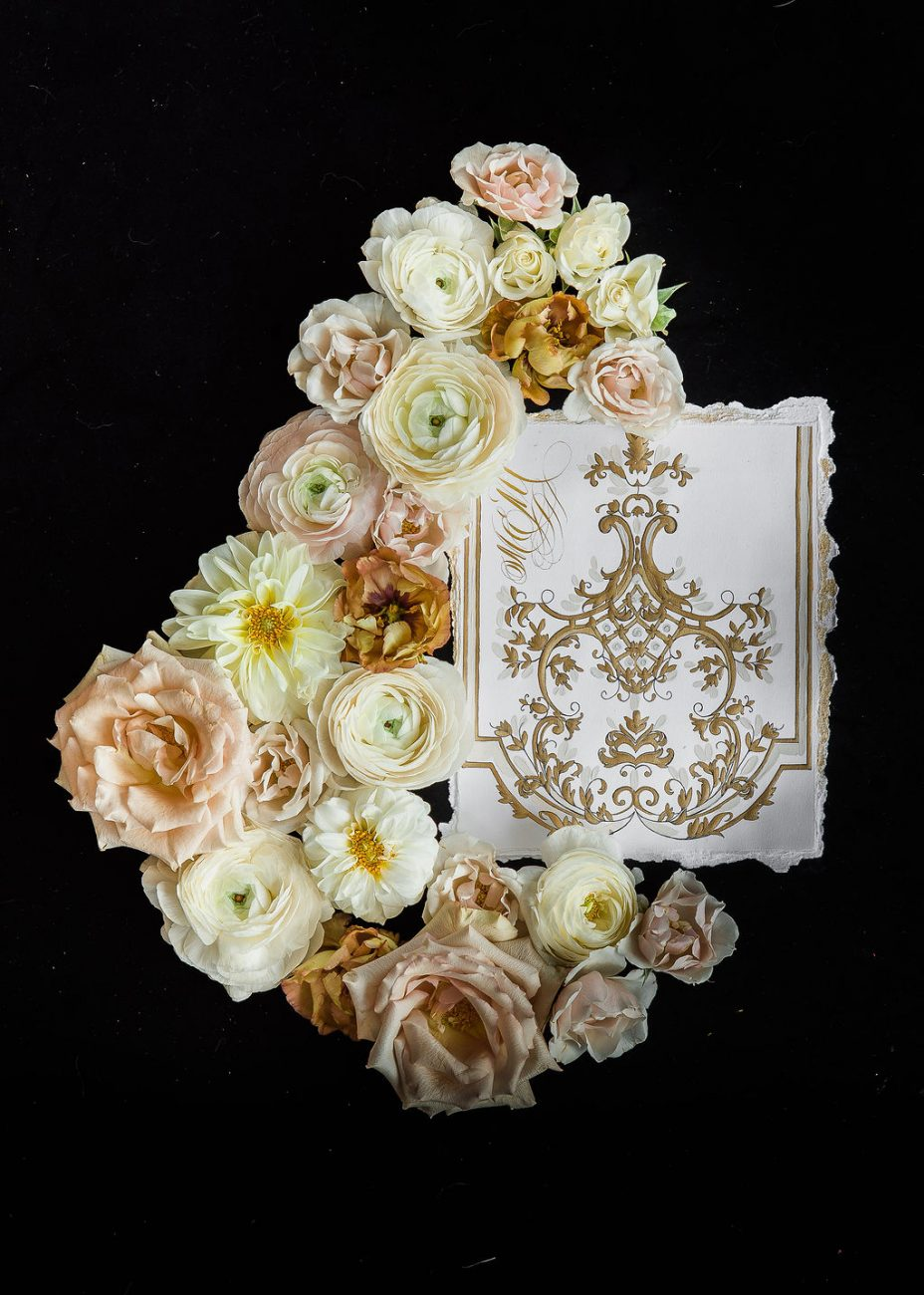 White, cream and gold menu design for a luxury fine art wedding in Florence