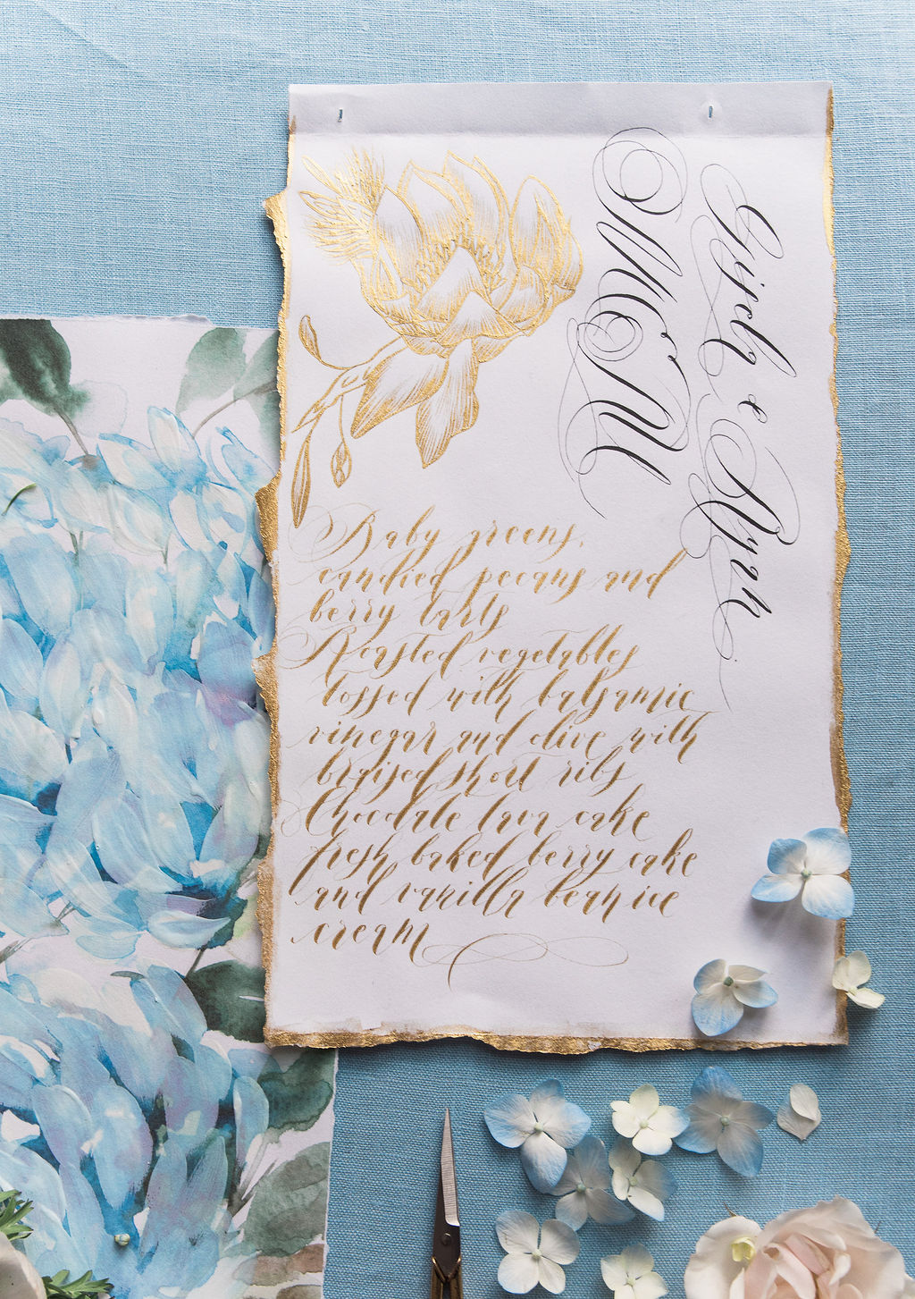 Blue watercolour and gold calligraphy high end French style wedding stationery