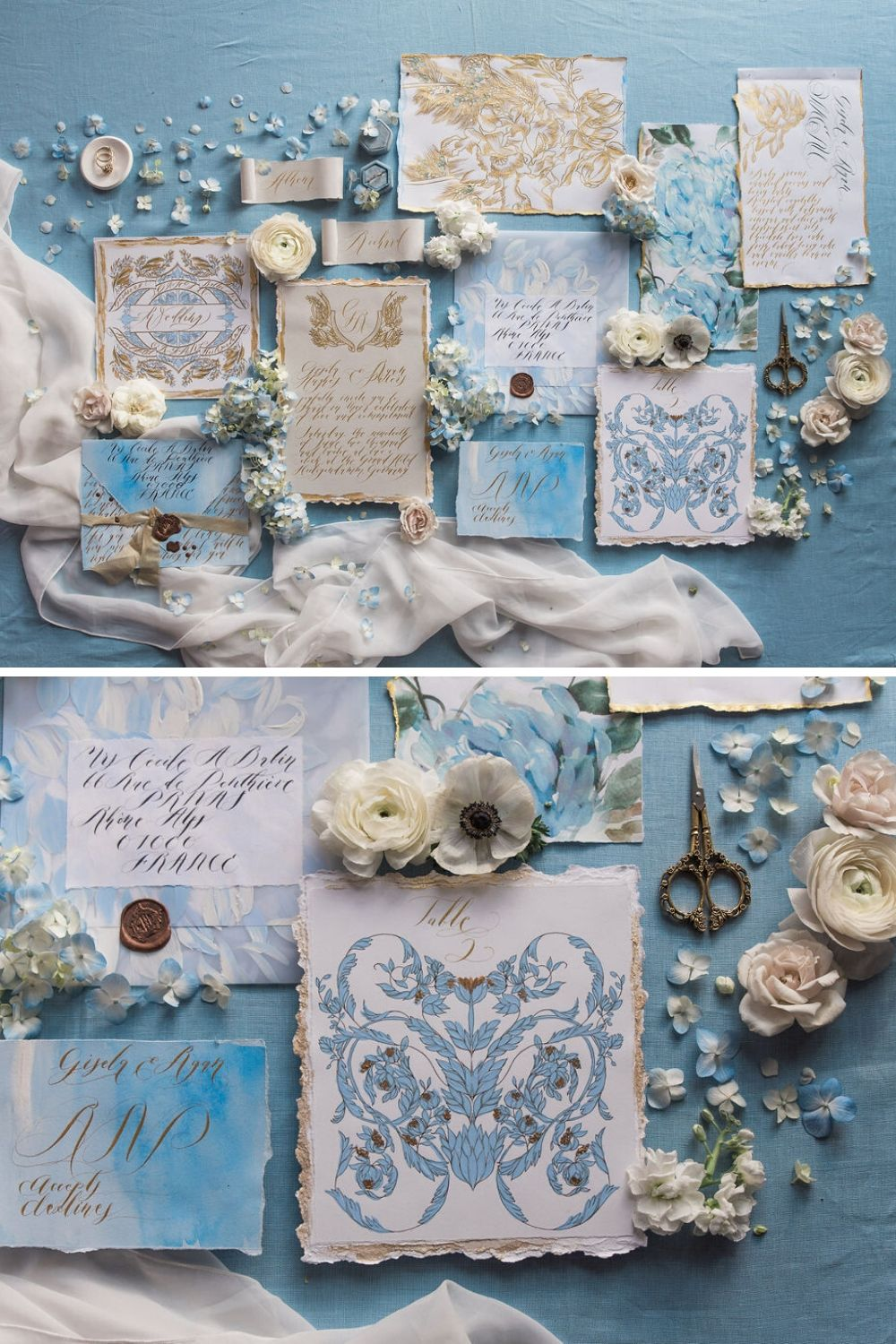 Classical and refined wedding stationery with handmade details for a refined, fine art wedding in Paris or Provence