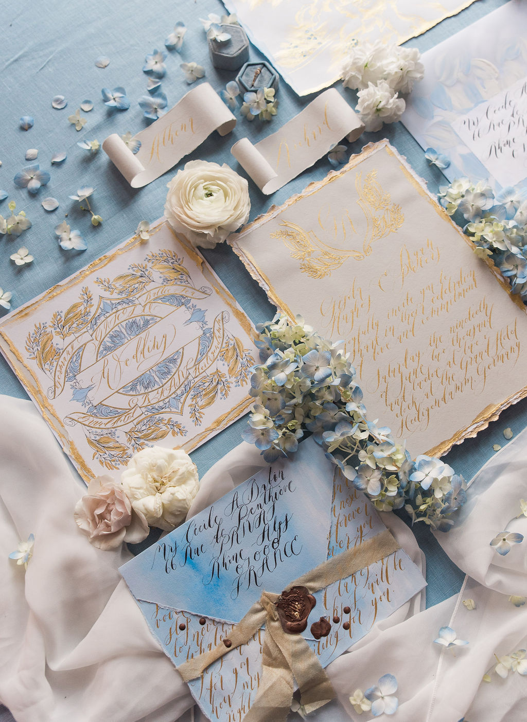 Romantic, blue and gold luxury handmade wedding stationery for a fine art wedding in Paris or the south of France