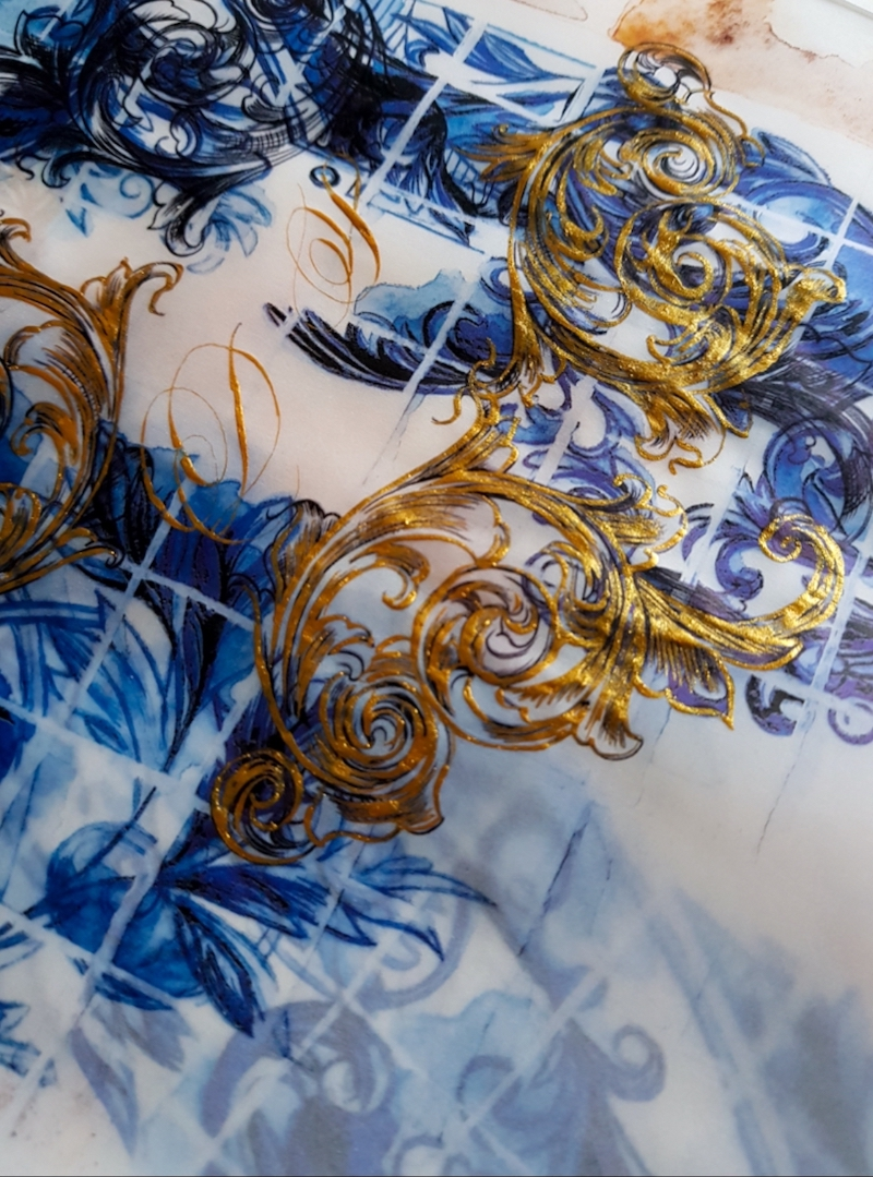 Azulejos blue tile artwork with gold filigree for a Portuguese themed destination wedding stationery suite