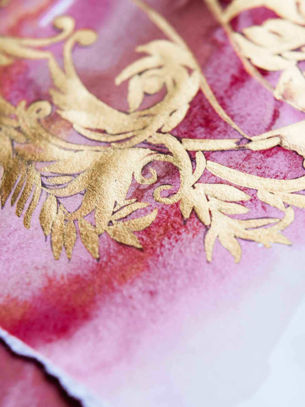Close up hand painted detail for a tropical Mexican wedding
