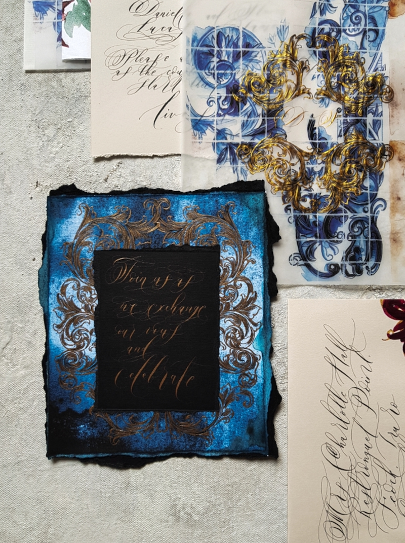 Dark navy blue and black wedding invitation card with gold calligraphy