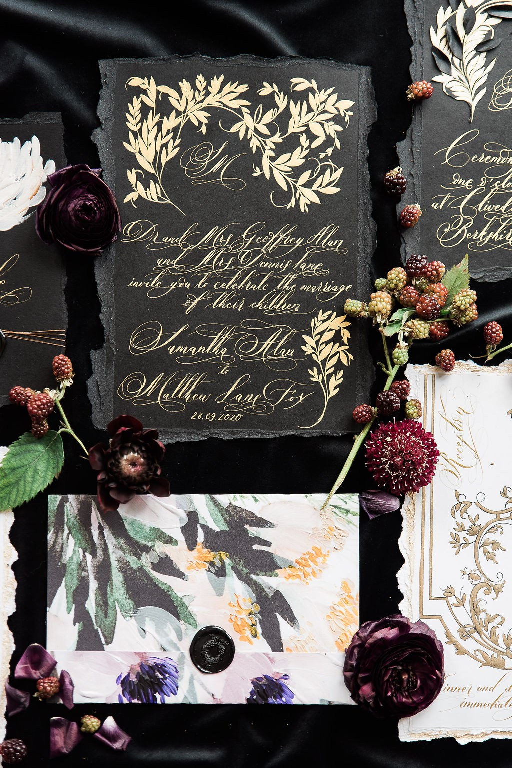 French style wedding invitations with classical modern calligraphy