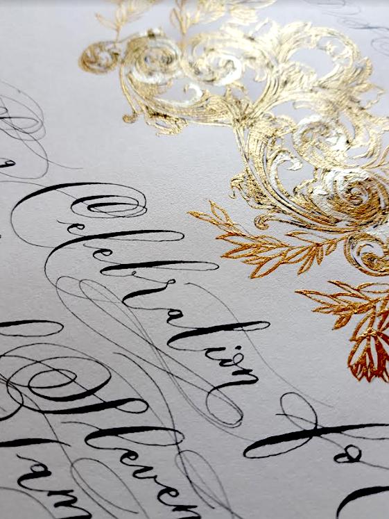 Gold wedding invitation crest design for a love letter style invite